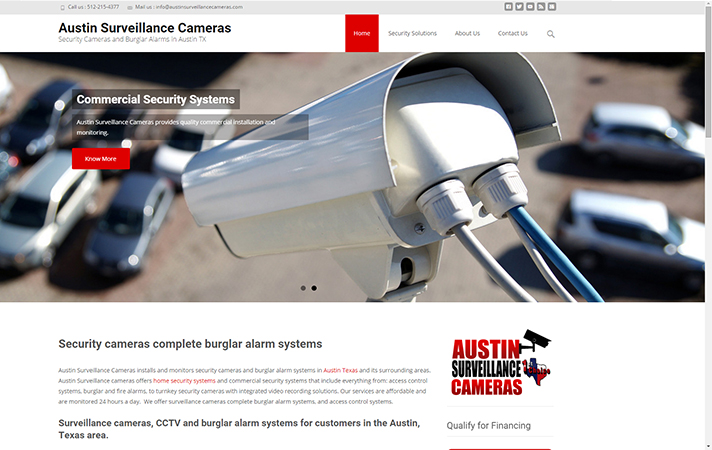 New web design for security camera and burglar alarm company in Austin Texas